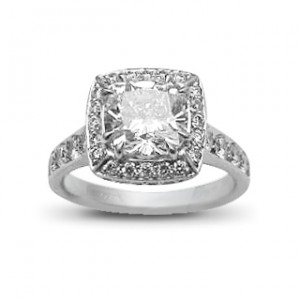 A cushion cut diamond weighing 2 carats, G colour, VS2 clarity, set in 18K white gold
