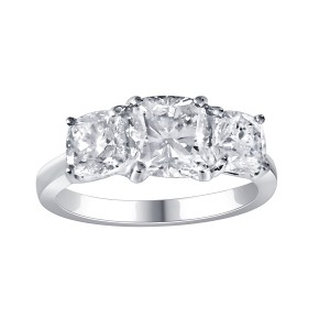3 stone cushion cut diamond ring in 18k White Gold