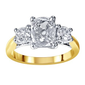 3 Stone Old cut diamond ring mounted in 18K White and Yellow Gold