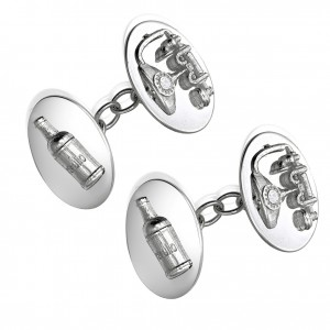 Bottle and telephone cufflinks