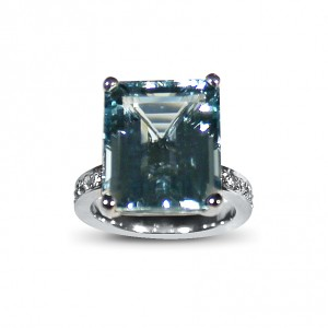 A 10 carat Emerald cut Aquamarine set in 18K white gold with G VS diamonds