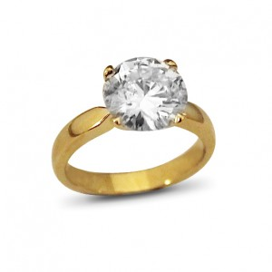 A 3 carat G colour diamond set in 18K yellow gold