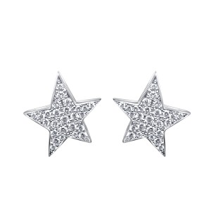 Large star earrings with diamonds in 18K White Gold