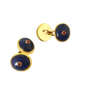 Lapis Lazuli and Ruby cufflinks in 18k Yellow Gold