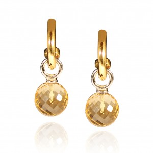 Citrine earrings mounted in 18K yellow gold