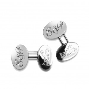 A pair of hand engraved 18k white gold cufflinks