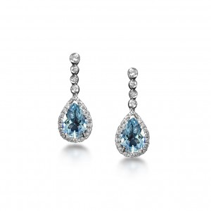 Aquamarine and diamond earrings in 18K White Gold