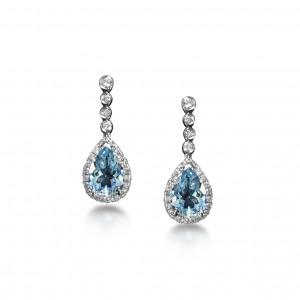 Aquamarine and diamond earrings in 18K White Gold