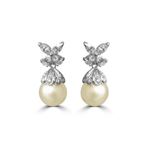 Detachable pearl and diamond earrings