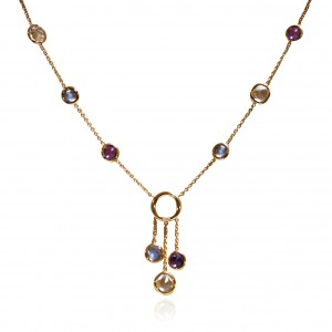 A 18K yellow gold necklace with Labradorite, White Topaz and Amethyst