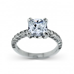 A 2.52 carat H VS1 cushion cut diamond mounted in Platinum