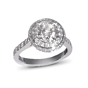 A round diamond weighing 1.50 carats, colour G, VS clarity mounted in Platinum