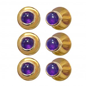 Silver 18K gold plated shirt studs with Cabochon Amethysts.
