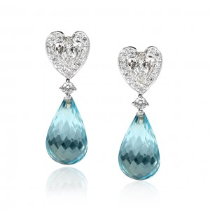 Briolette cut Topaz earrings with diamonds mounted in 18K white gold