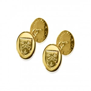 A pair of  9k gold hand engraved cufflinks