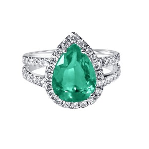 Emerald and Diamond ring mounted in 18K white gold