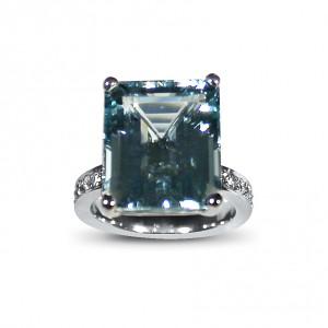 A 10 carat Emerald cut Aquamarine set in 18K white gold with G VS diamonds