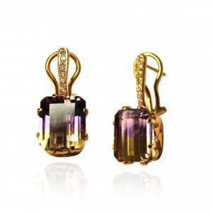 Ametrine earrings with diamonds set in 18K rose gold