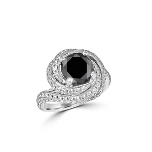 Black and White diamond ring mounted in 18K White gold
