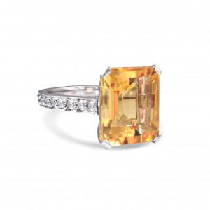 A 10 carat Citrine ring mounted with diamonds in 18k white gold