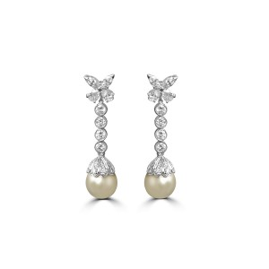 Pearl and diamond detachable pearl earrings