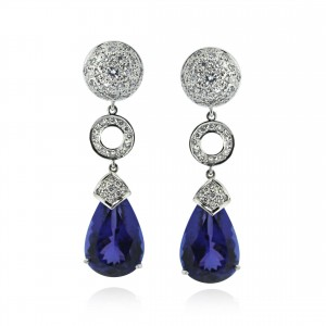 A pair of Tanzanite and diamond earrings mounted in 18K white gold